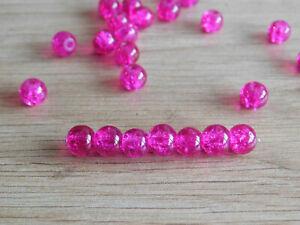 50-perles-RONDE-en-verre-craquele-6mm-ROSE-FUSHIA