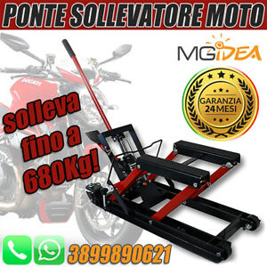 PONTE-SOLLEVATORE-MOTOCICLETTA-CARRELLO-CRIC-CARICO-ALZA-MOTO-680-KG-IDRAULICO