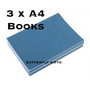 3-x-Silvine-A4-Exercise-Book-Ruled-75gsm-80-Pages-A4-Blue-Ruled-8mm-Pack-of-3