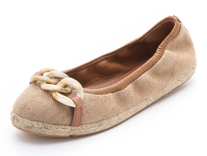 NEW TORY BURCH Alta Resin Chain Espadrille Ballet Flats US 8 Natural/Tan Pelle