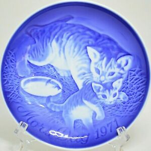"Bing & Grondahl Mors Dag Mothers Day 1971 Plate 6"" Mother Cat Kitten Denmark"