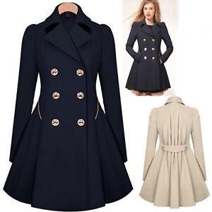 Womens-Ladies-Lapel-Stylish-Windbreaker-Long-Parka-Coat-Trench-Outwear-Jacket