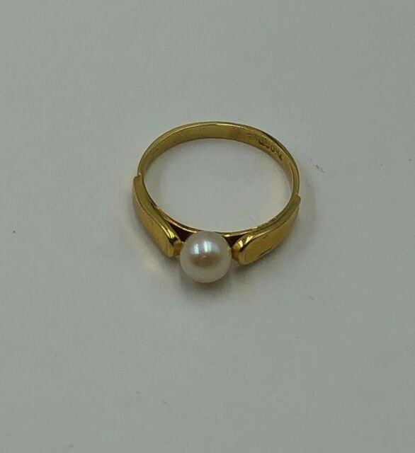 Vintage 18K Yellow Gold Cultured Pearl Ring Size 5