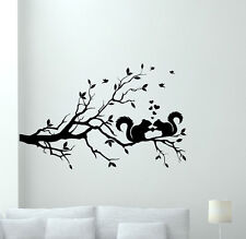 Squirrel Tree Wall Decal Nature Vinyl Sticker Decor Art Bedroom Poster 95hor