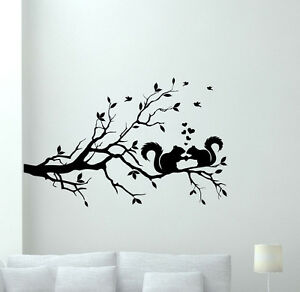 Details about Squirrel Tree Wall Decal Nature Vinyl Sticker Decor Art  Bedroom Poster 95hor