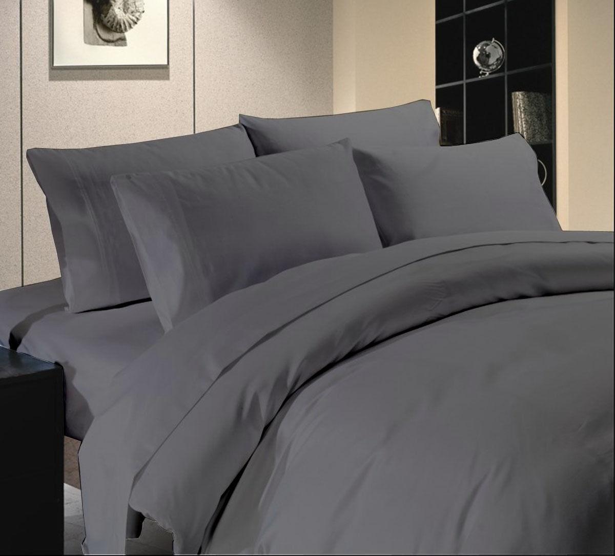 Bettbezug Set King Größe Grau Massiv 1000 Fadenzahl 100% Ägyptische Baumwolle