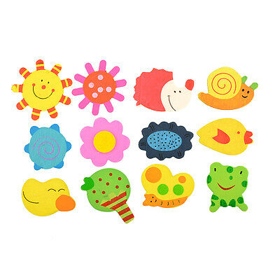 12pcs 1Set Kids Wood Cartoon Pattern Fridge Magnet Child Educational Toy