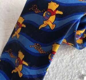 Winnie the Pooh Tie with Bees and Hunny Honey Pot Blue Striped Necktie
