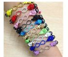 Infinity knot shamballa clasp handmade bracelet silver plated colour YELLOW