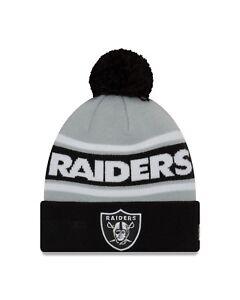26942d5c8 Oakland Raiders New Era Sport Knit Call Out Cuffed Pom Knit Hat ...