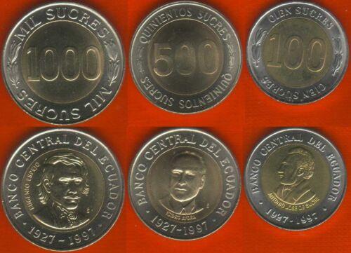 100-1000 sucres 1997 BiMetallic UNC Ecuador set of 3 coins