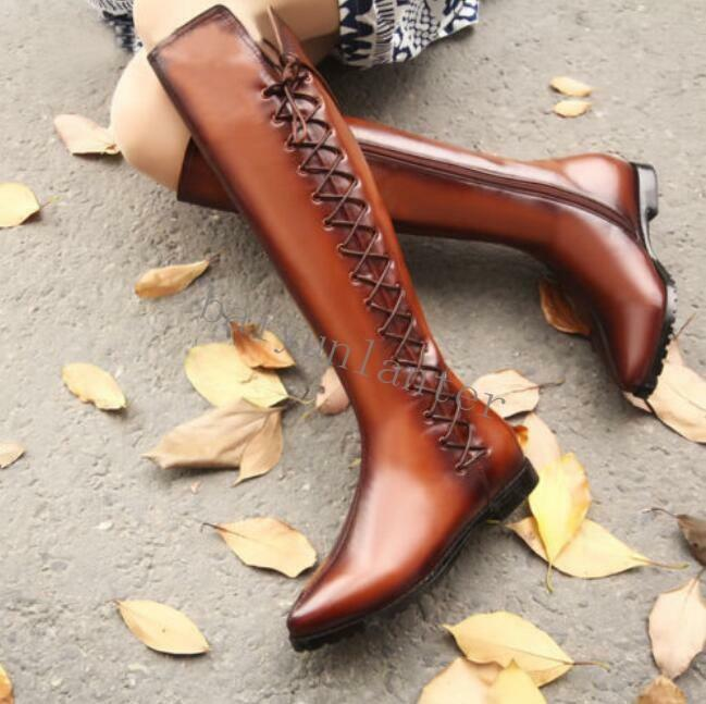 Mujeres Mujeres Mujeres cuero correa de cruz botas de montar plana Bloque Talón la rodilla alta botas de vaquero Talla  60% de descuento