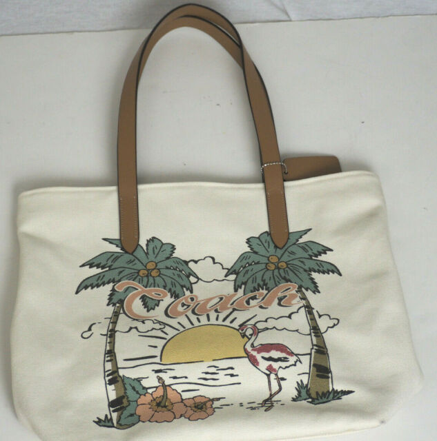 pretty nice detailed images new appearance New COACH F28077 Aloha Summer Tote Bag Canvas flamingo Handbag Purse Chalk