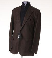 NWT $5980 CESARE ATTOLINI Chocolate Brown Nubuck Leather Blazer 40 (Eu50) Jacket