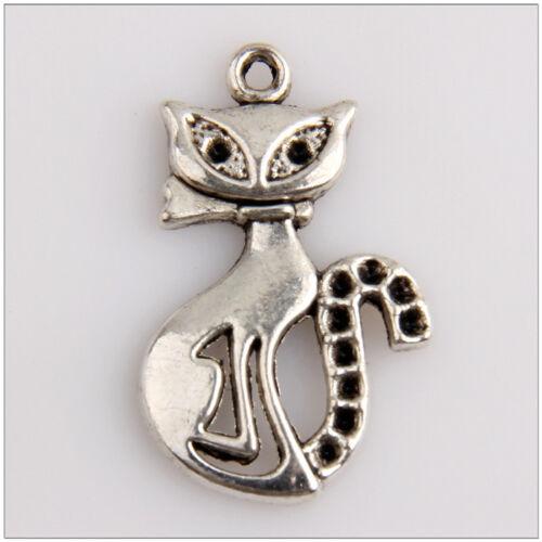 10 Cat Tibetan Silver Charms Pendants Jewelry Making Findings EIF0371