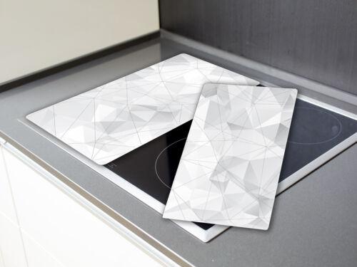Herdabdeckplatte Schneidebretter Spritzschutz SET HA226449112 Abstrakt Weiß Grau