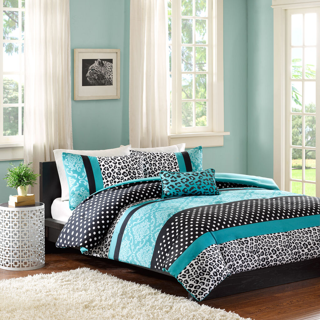 Turquoise & Noir Polka Dot léopard pleine reine Consolateur, Shams & Toss Pillow
