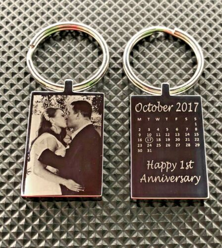 Valentines Engraved Wedding Anniversary Keyring Calendar wife husband