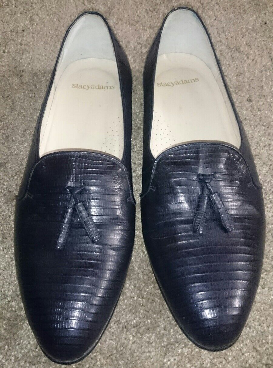 Stacy Adams Loafer men's Genuine reptile Tassel Tassel reptile Loafers Blue Navy Dress Sz 9.5 b0b118