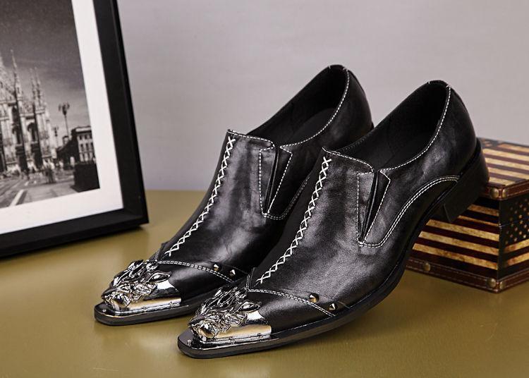 Estilista para hombre de cuero antideslizante en punta metal en punta en Club nocturno Vestido Formal Zapatos Talla c04c84