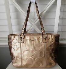 COACH Gallery Metallic Gold Sig Embossed East West Leather Tote Handbag #17727