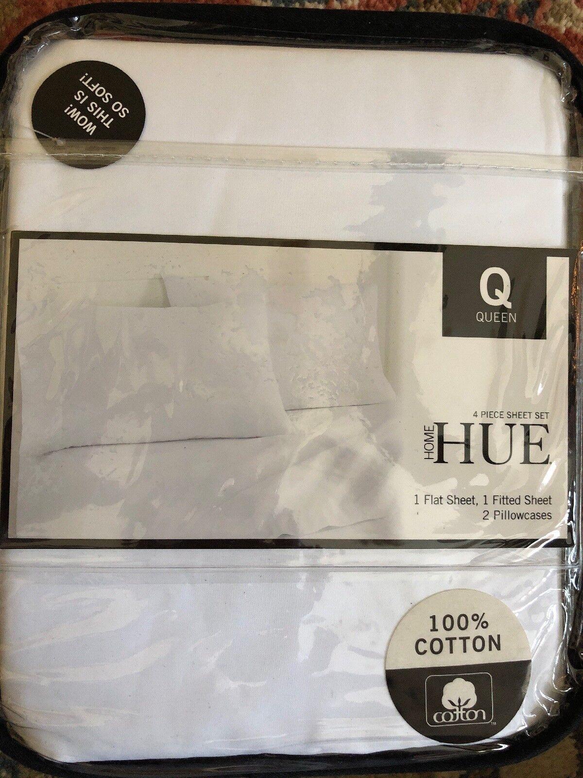Hue Home Queen Pure White 4 Pc Sheet Set NIP 100 Percent Cotton