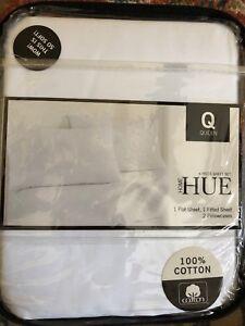Hue Home Queen Pure White 4 Pc Sheet Set Nip 100 Percent Cotton Ebay