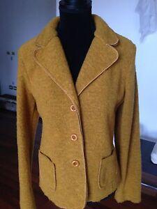 wholesale dealer 146bd f3480 Dettagli su giacca lana cotta senape