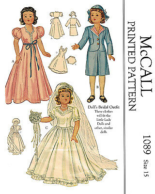 "Vintage McCalls 1089 - 15 "" doll clothes sewing patterns - little lady dolls,etc"