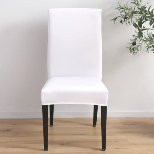 US  Soft Fit Stretch Dining Room Covers Solid Chair Seat Protector Slipcover