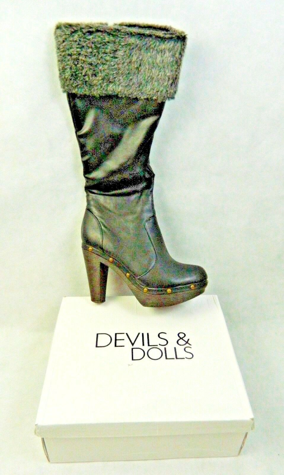Devils & Dolls Faux Fur Topped Boots Studs Detail Size UK SIZE 6 EU 39.