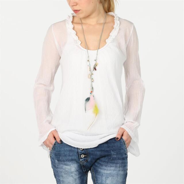 RESTART Basic leichte Tunika Bluse Rüschen Ausschnitt lange Ärmel WHITE weiß