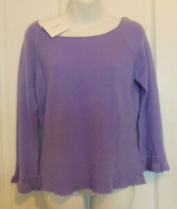 Details about denockdesigns lilac beaded bell sleeves cashmere sweater wide scoop neck M L NWT