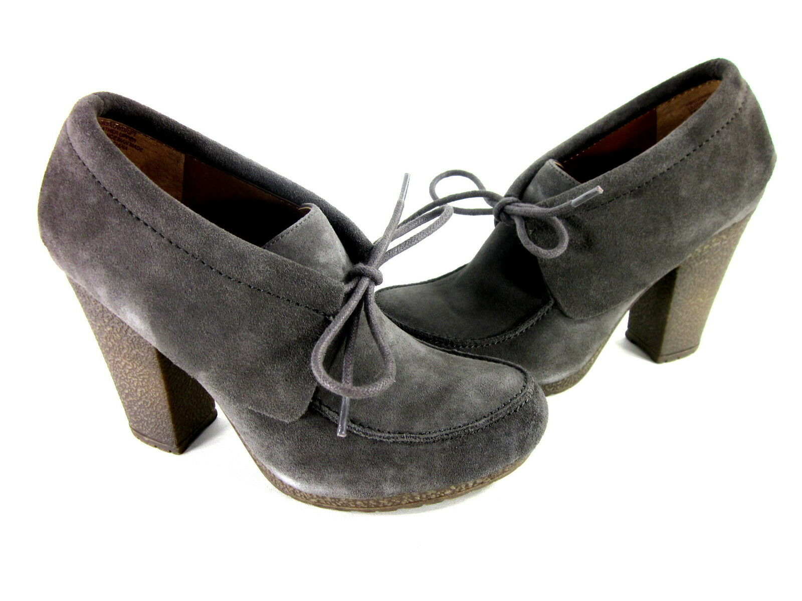 NINE WEST WOMEN'S SNOWDRIFT FASHION OXFORDS GREY SUEDE FASHION HEEL US SZ 5.5 M