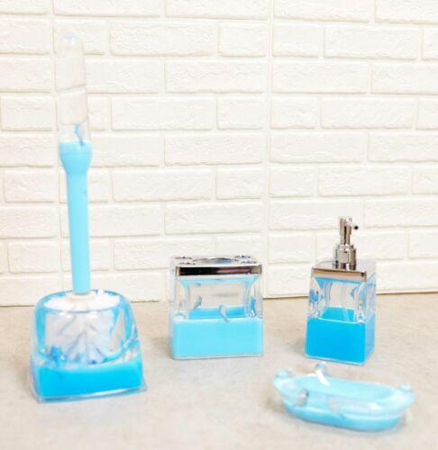Nautical Marine Blue Dolphins 5 Piece Chic Bathroom Vanity Accessories Gift Set