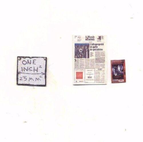 "Magazine /""Le Monde and Pariscope/"" dollhouse miniature 1//12 scale COT4015 USA"