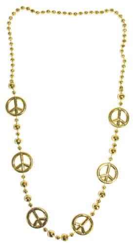 COLLANA discoteca Peace-ORO-PERLE CATENA PER Hippie 70er discoteca Queen kostuem