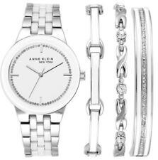 Anne Klein Womens Silver Tone Bracelet And Watch Set 12 2243svst V99
