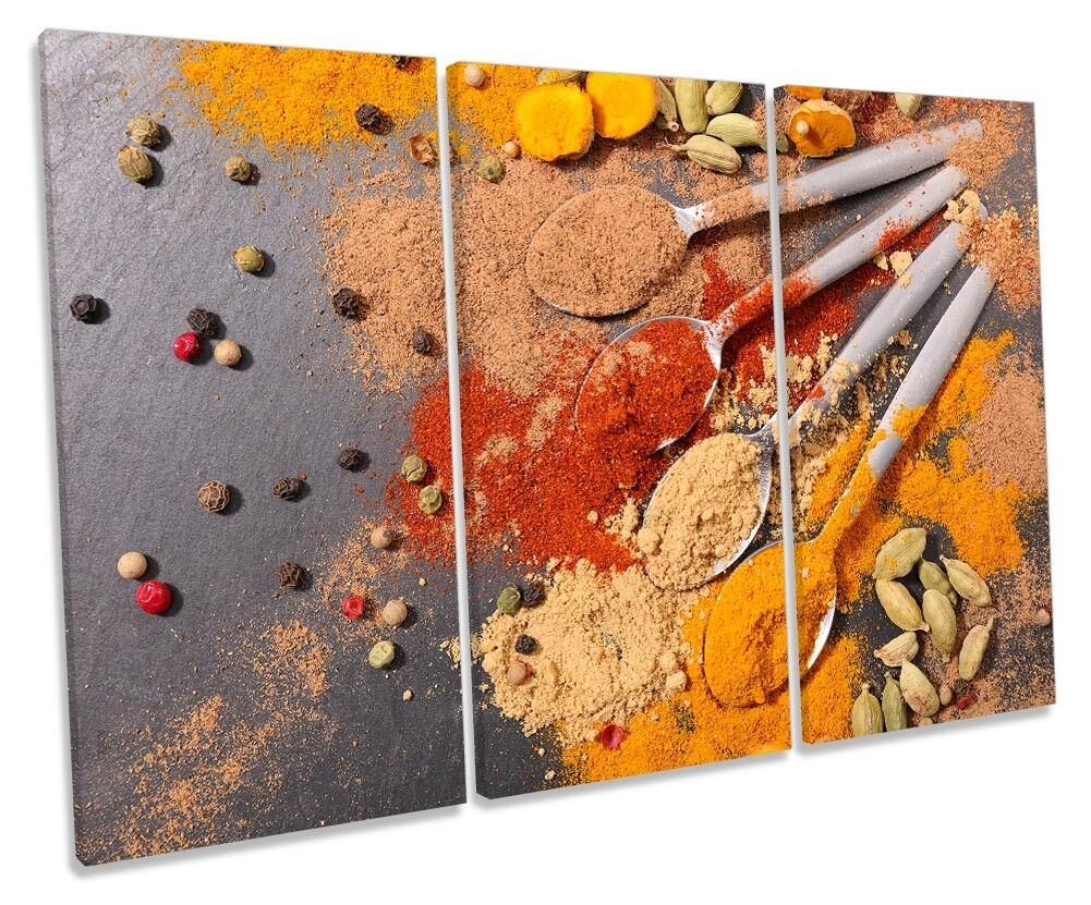 Hot Spices Kitchen Curry Picture TREBLE CANVAS WALL ART Print