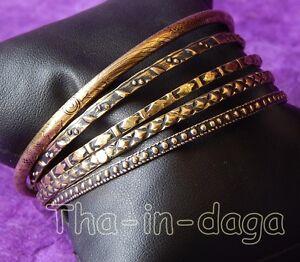 5-Bangles-Bracelet-Laiton-Cisele-Bollywood-T-2-8-6-5cm-Inde-Tha-in-daga-Gold