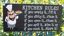"FAT CHEF ITALIAN KITCHEN RULE SIGN/PLAQUE WALL KITCHEN BISTRO CUCINA DECOR 9"""