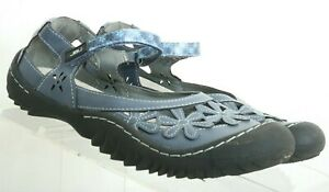 Jambu-JBU-Blue-Wildflower-Pebbled-Leather-Mary-Jane-Flats-Women-039-s-US-7-M