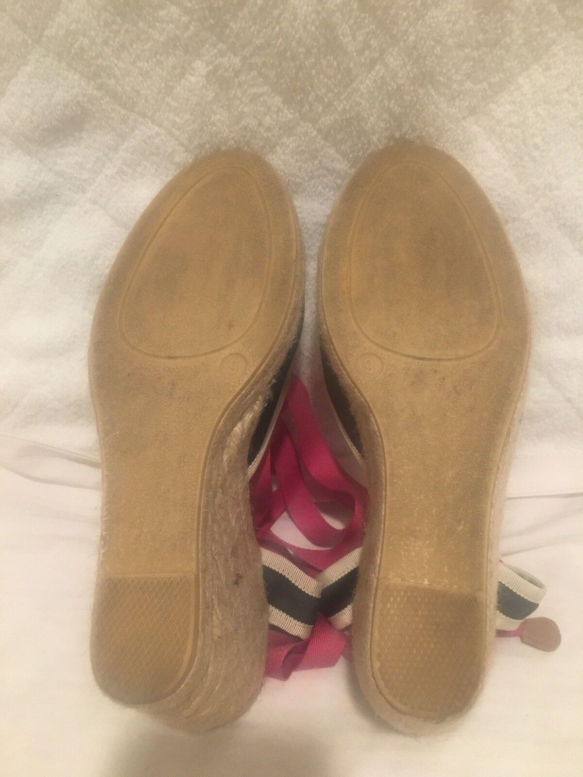 J. Schuhe CREW ESPADRILLE WEDGE BALLERINE LACE UP Schuhe J. SZ 9 NAVY SANDALS d7347e