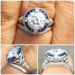 Vintage-engagement-bridal-ring-sets-3-9ct-white-round-cut-diamond-14k-white-gold