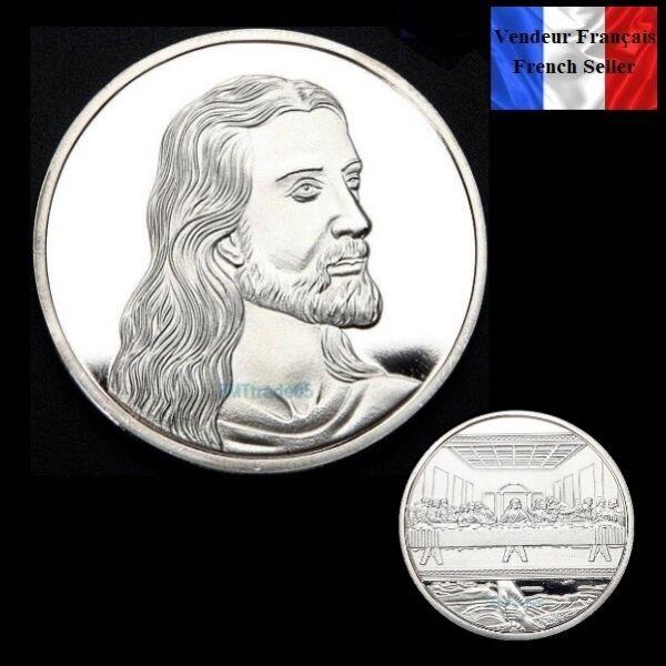 1 Pièce Plaquée Argent Silver Plated Coin - Jésus God La Cène Léonard De Vinci
