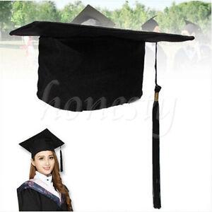 Black-Mortar-Board-Adults-Graduation-Hat-Cap-Fancy-Dress-Accessory-For-Student