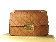 Michael Kors Sloan Shoulder Bag Suede Leather Large Brown Tan & Dustbag & MK Box
