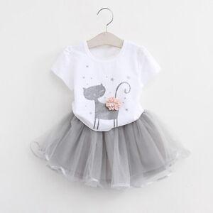 Kids-Baby-Girls-Princess-Outfits-T-Shirt-Tops-Tutu-Skirt-Dress-Clothes-Set-KW
