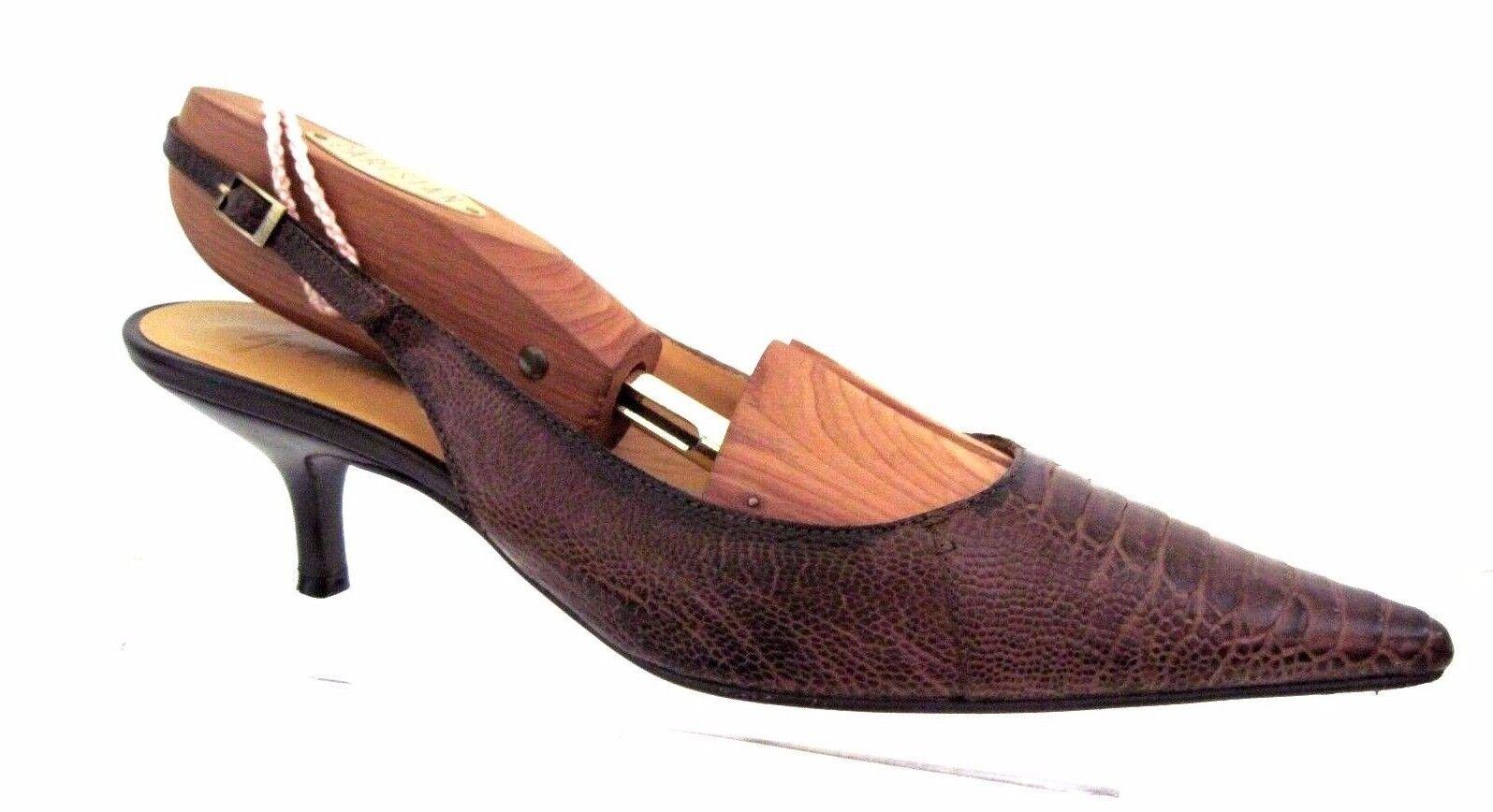 GIUSEPPE ZANOTTI Braun Croc Print Leder VICINI Slingback Heels Größe 37