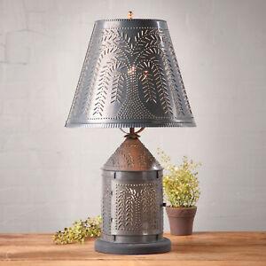 Ornate Willow Punched Tin Lantern Lamp